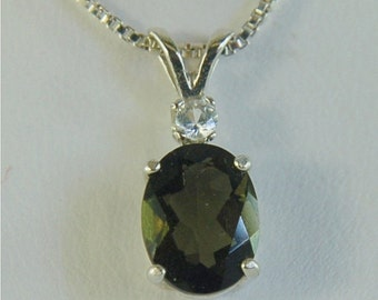 Moldavite Faceted Necklace Sterling Silver 9x7mm Oval 1.50ct With White Zircon Accent Natural Untreated