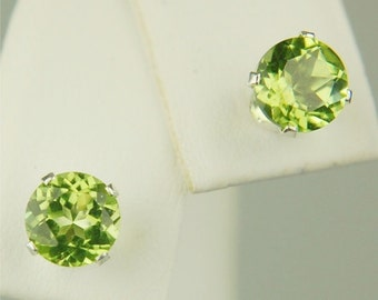 Peridot Stud Earrings Sterling Silver 6mm Round 1.80ctw Natural Untreated