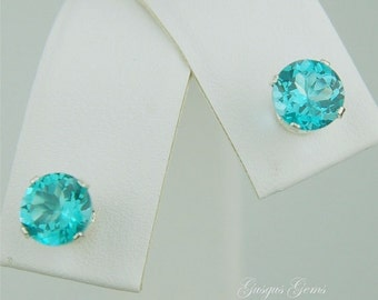 Apatite Stud Earrings Sterling Silver 6mm Round 1.80ctw.