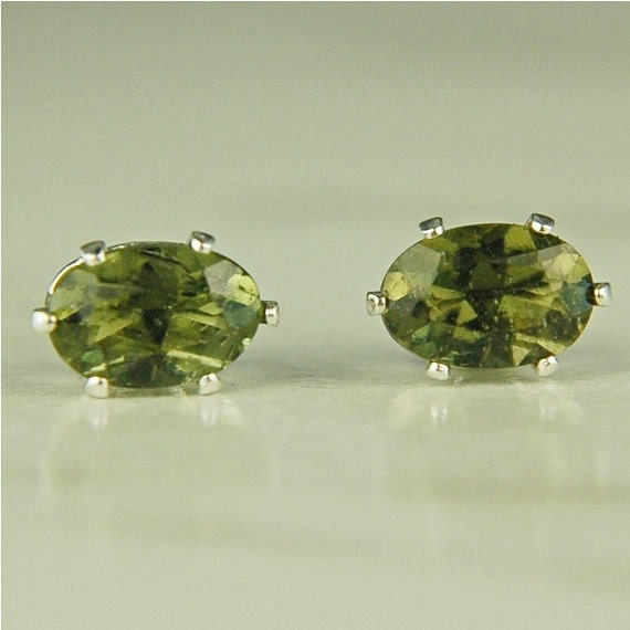 Moldavite Faceted Stud Earrings Sterling Silver 6x4mm Oval .70cte Rare Natural Untreated