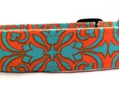 Perfectly Preppy Teal Blue and Bright Orange Floral Medallion Dog Collar