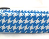 See Me In The Spotlight Bright Blue and White Houndstooth Dog Collar