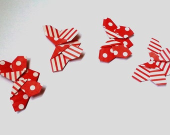 """Bookmarks Origami """"Butterflies"""" Set of 4 Red"""