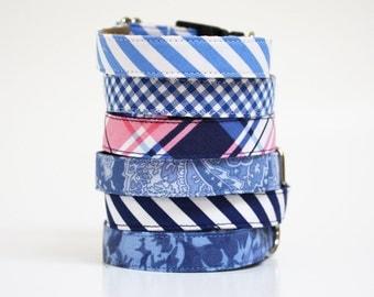 Dog Collar- fabric dog collar- gingham- stripes- paisley- plaid