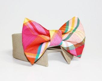 Dog Bow Tie- Shirt and Bow Tie Collar-  Wedding Dog Tie-  Plaid- Madras