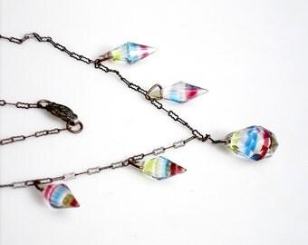 Sale ~ Art Deco Iris Glass Necklace