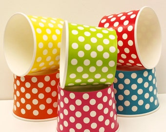 Ice Cream Cups, 10 Medium Polka Dot Paper Cup, Ice Cream Cups Yogurt Cup, Wedding Ice Cream Buffet, Birthday Party, Ice Cream Cup, Dessert
