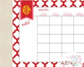 2016 Calendar Desk Pad - Monogrammed QUATRAFOIL COLLECTION - 11x17 Desk Calendar Pad - fill in your own dates - 53 Sheets