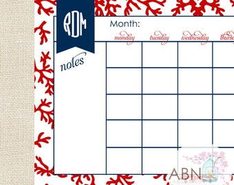 2016 Calendar Desk Pad - Monthly Calendar - Red CORAL COLLECTION -11x17 - fill in your own dates - 53 Sheets