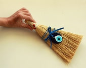 Small Whisk Broom, Spritual Home Decor, For Ridding Your Home Of Negative Energy, Blue Glass Eye Bead,  Handmade