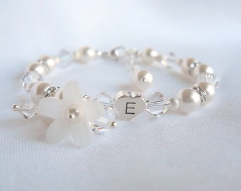 Sterling Heart Initial Bracelet with Swarovski Pearls and Crystals B026