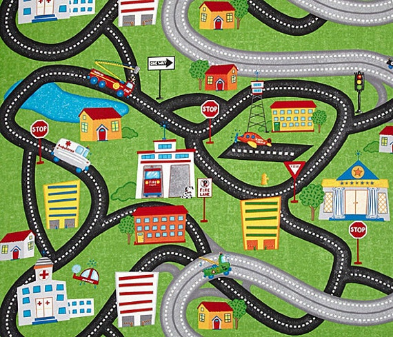 Zip Zoom Road Street Car Play Mat Fabric ONE YARD COTTON