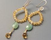 Resort Wear - long drop earrings - aventurine and citrine gold earrings - November birthday gift yellow and green gemstone earrings