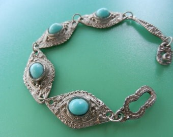 Fantastic Vintage 1960 Bracelet  - Beautiful silver design  embellished with turquoise -four beautiful Almond shaped link -- art.302/3--