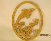 DOLPHIN, TURTLE And FISH Scroll Saw Plaque