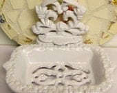Victorian Guest Soap Dish Business Card Holder 4.5 x 5.5 Inches White Cast Iron