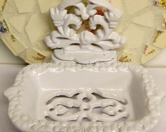 SET of 2 Victorian Guest Soap Dish Business Card Holder 4.5 x 5.5 Inches White Cast Iron