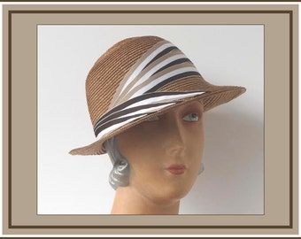 Thirties Deco Straw Hat, Chic Angled Sailor or Profile Millinery. Natural Color, Brown, Tan and White Ribbon, 1920s-1930s Cloche