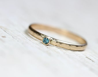Tiny Teal Blue Diamond 14K Yellow Gold Ring Hammered Texture Narrow Delicate Lightweight Stacking Band Simple Boho Round Bezel - Royal Dot