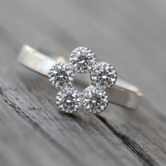 sparkly cz flower engagement ring silver by nangijalajewelry
