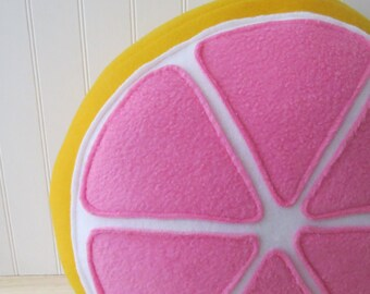 Pink Grapefruit Pillow, Citrus Pillow, Grapefruit Plush