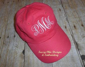 Monogrammed Ladies Baseball Hat/Sports Mom/Bridesmaid/Collegiate/Shabby Chic Monogrammed Hat/Bridal Party/Bachlorette Party/Sorority Hat