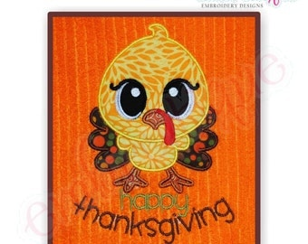 Happy Thanksgiving Turkey Satin Edge Applique- Instant Email Delivery Download Machine embroidery design
