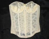 Vintage HOLLYWOOD MAXWELL Strapless Corset Bullet Bra • size 34B • 3/4 Time Torso
