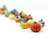 Miniature pumpkins (set of 3)  in a color of your choice Holiday decoration Ceramic miniatures Halloween decoration Thanksgiving