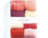 Japanese Needle Wool Felt 8 Colors Set - Jewel Pink Felting Selection - Solid, Natural Blend - Colorful Candy Hamanaka - F54