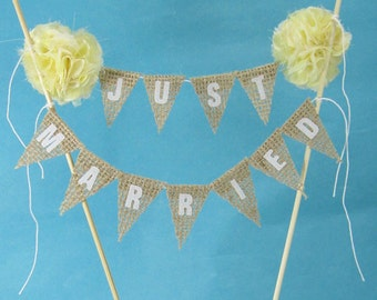 "Rustic burlap wedding Cake banner, wedding, Burlap Yellow cake topper ""Just Married"" F194, cake banner"