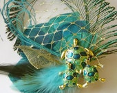 SALE Adorable TURTLE Teal Green and Ble Peacock Hair Fascinator with Turtle Family Pin Ooak