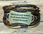 Well-Behaved Women Quote Antique Brass & Dark Brown Leather Wrap Bracelet