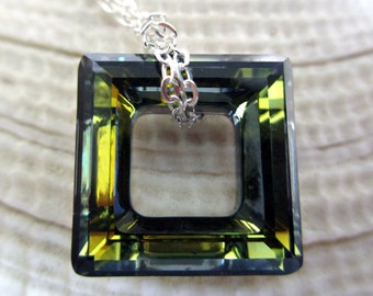 Square Necklace, Swarovski Necklace, Silver Necklace Green Pendant, Silver Pendant, Square Ring, Reversable Necklace