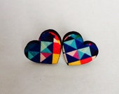 Geometric Prism heart earrings