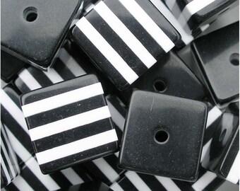 18mm Black Plastic Striped Square Opaque Beads (10 pcs) 033008