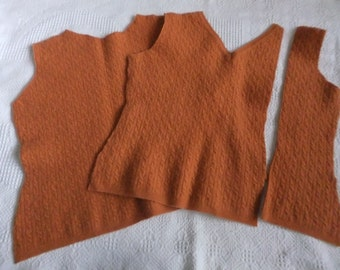 Felted Extra Fine Italian Merino Wool Cable Sweater Remnants Rust Recycled Upcycle Fabric Sewing