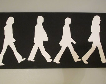 12x24 Hand painted canvas The Beatles inspired Abbey Road Silhouette in black and white