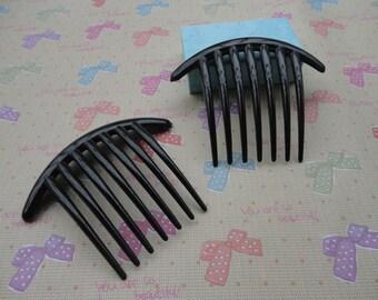 50pcs Black Color Plastic Hair Comb with 7 Teeth Barrette Pin 106x85mm