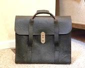 Vintage Rare 1920's Men's Black Leather Briefcase Satchel -- American Leather Products -- Attorney Banker Office Laptop Messenger Bag