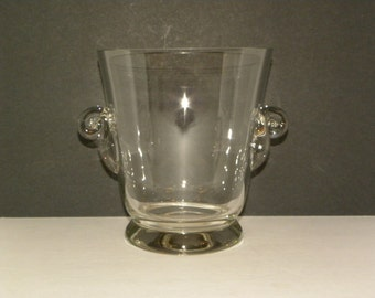 Vintage Clear Glass Wine Chiller Ice Bucket -- Hand-blown Glass with Scroll handles