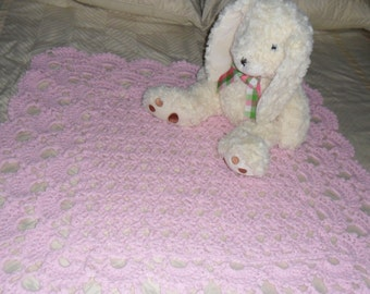 Crocheted Baby Afghan -  Blanket - Throw  - Coverlet  ''SHELLS GALORE''   in Pastel Pink