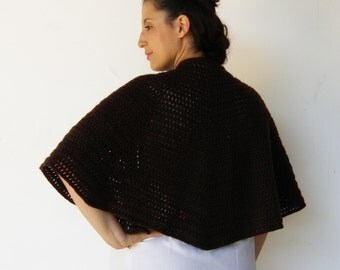 Vintage Knit Capelet / 60s Dark Chocolate Brown Cape