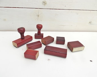 Vintage Rubber Stamp Lot Office Supplies Industrial Wood Handle