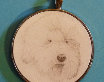 Old English Sheepdog OES Original Pencil Drawing Pendant with Organza Pouch -Choice of Necklaces -Free Shipping- Desert Impressions