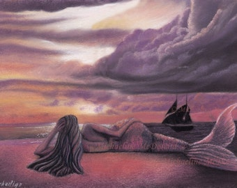 Mermaid Rendezvous Art Print by Michaeline McDonald - mermaid, mermaid print, mermaid card, mermaid decor, fantasy art,