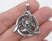 2 Celtic knot pendants antique silver tone R38