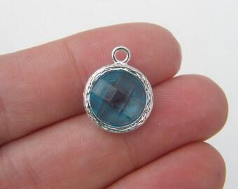 1 March birthstone aquamarine 17 x 14mm silver plated