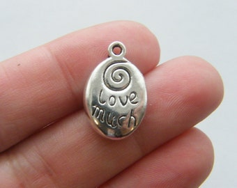 6 Love much Laugh often charms antique silver tone M169