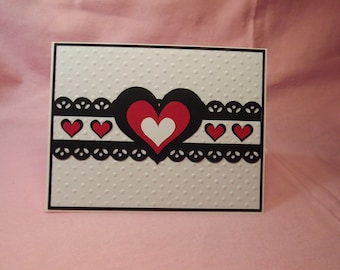 Black Red White Pink Heart Greeting Card